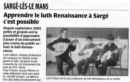 <titrephoto>articles</titrephoto> : ouverture de la classe de luth (prof. Cyril Gilbert) à Sargé-lès-Le Mans en Sarthe