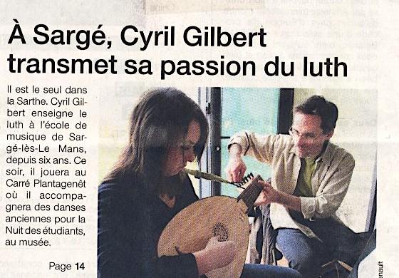 <titrevideo>article</titrevideo> : <em>Cyril Gilbert transmet sa passion du luth</em> en Une du <em>Ouest France</em>