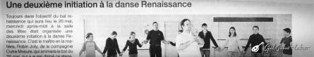 <titreaudio>articles</titreaudio> :  initiation aux danses de la Renaissance à l'École Municipale de Musique de Sargé (prof. Cyril Gilbert), intervention de Robin Joly